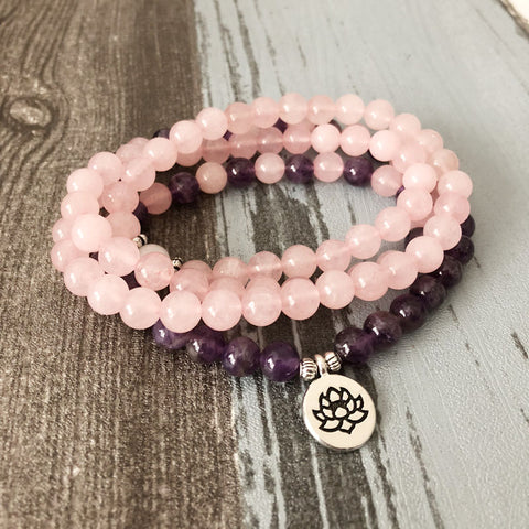 108 Beads Rose Quartz Amethyst Mala with Lotus Om Buddha Charms - 4L-Creative