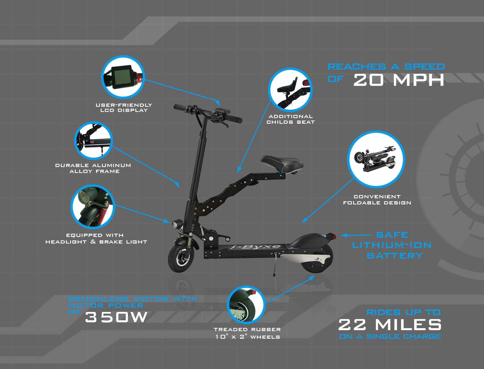 Electric Scooter With Foldable Design Ibyxe