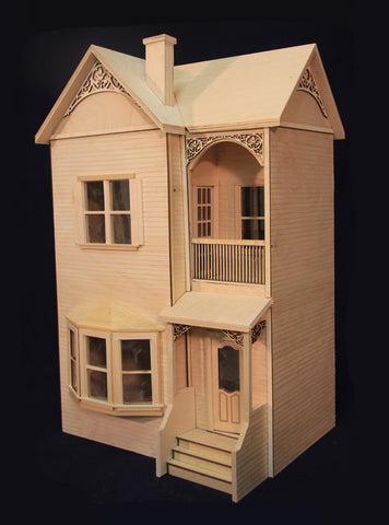 The Belmont Dollhouse Assembled, Unpainted