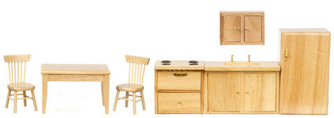 Kitchen Set with Table and Chairs, Oak