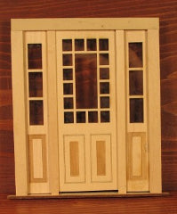 Door with Sidelights and Prairie Style Window