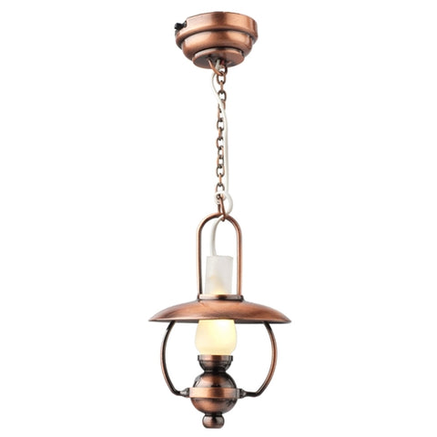 Copper Hanging Hurricane Lamp with LED Battery