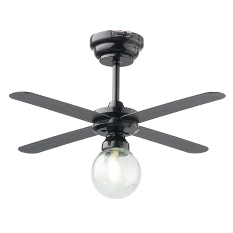 Black Ceiling Fan with Clear Globe LED Battery Powered