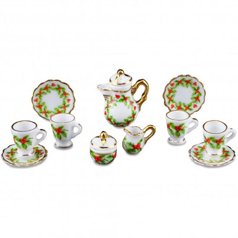Coffee Set with Christmas Mistletoe Theme by Reutter
