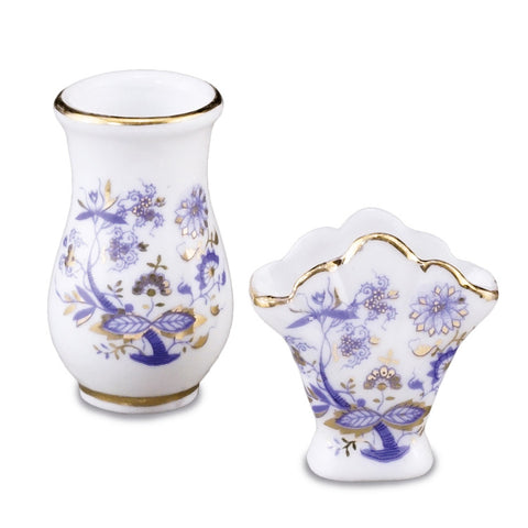 Blue Onion Flower Vase Set