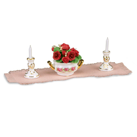 Rose Table Centerpiece Set with Candlesticks