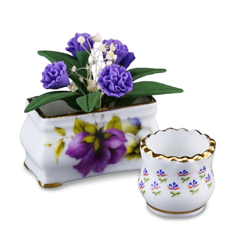 Purple Flowers with Planter by Reutter