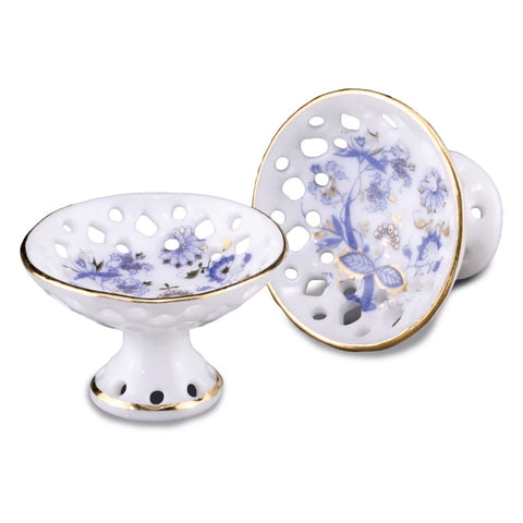 Blue Onion Footed Fruit Bowl Set