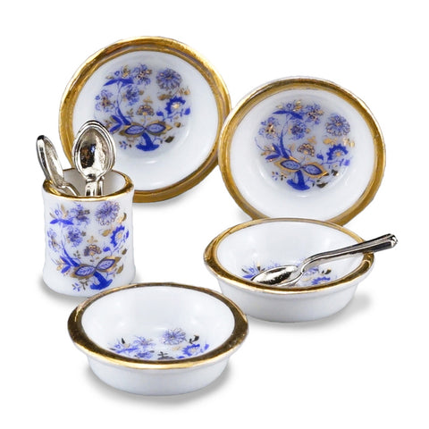 Blue Onion Soup Bowl Set