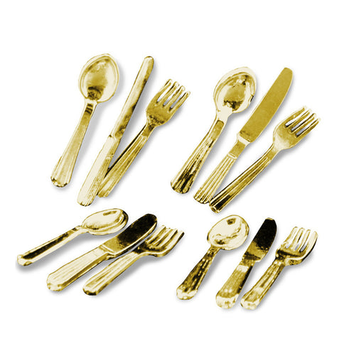 Silverware Set, Four Gold Three Piece Place Setttings