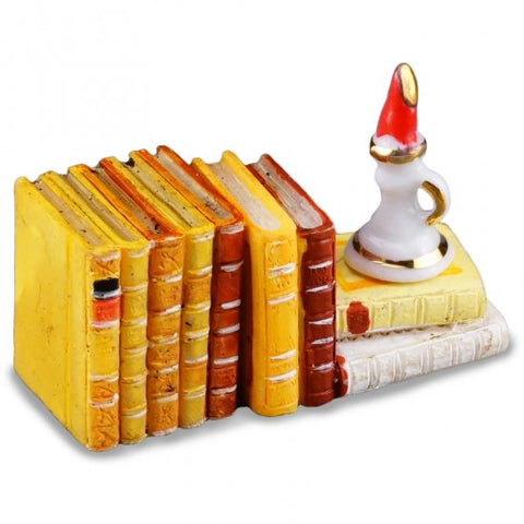 Set of Books and Candlestick, Resin