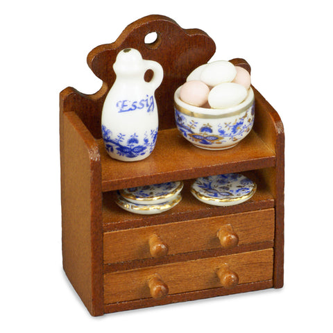 Decorated Wall Shelf with Blue and White Reutter Porcelain