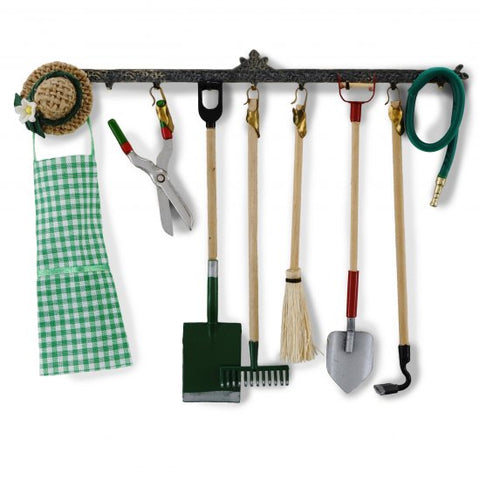 Garden Tools on Wall Rack