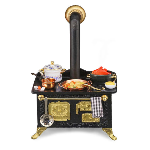 Black Kitchen Stove with Accessories