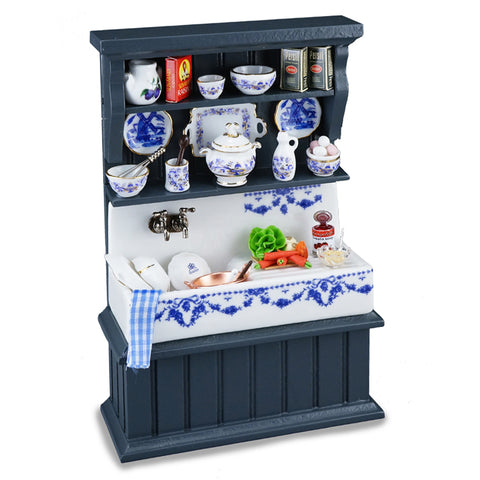 Blue Sink with Accessories