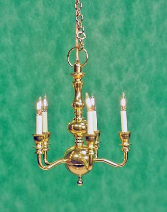 Small 5-Arm Brass Chandelier