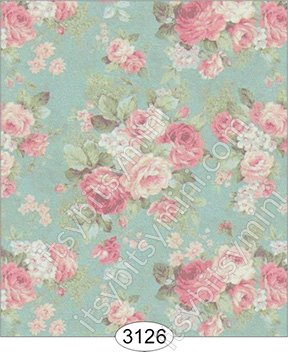 Roses on Teal Background Wallpaper
