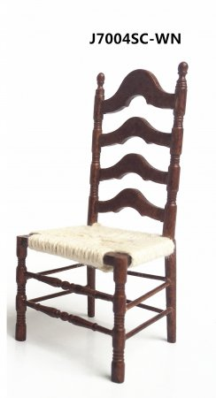 Ladder Back Side Chair, Walnut With Woven Seat