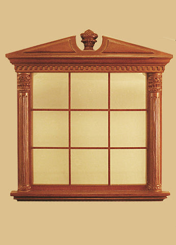 Corinthian Carved Double Window, New Walnut Finish