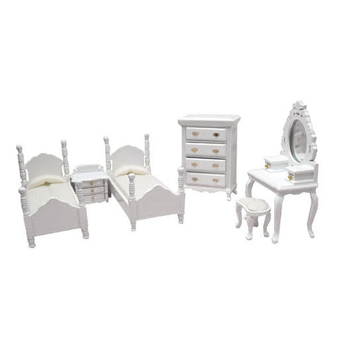 6 Piece Twin Bedroom Set, White