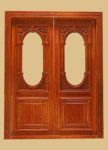 Penniman Exterior Double Door, Walnut Finish