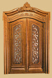 Pollinade Carved Double Door, New Walnut Finish