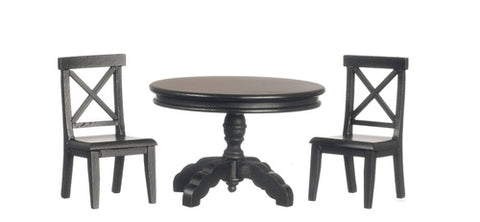 Round Table and Two Chairs, Ebony