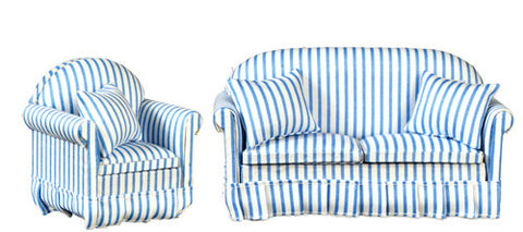 Living Room Set, Two Piece, Blue and White Stripe
