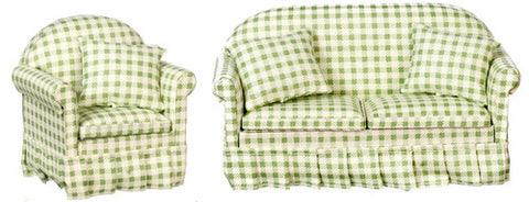 Living Room Set, Two Piece, Green and White Check