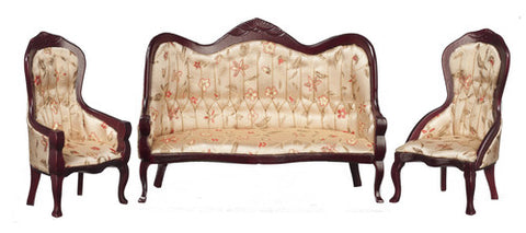 Victorian Sofa and Chair Set, Silk Floral and Mahogany