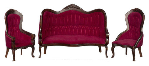 Victorian Sofa And Chair Set, Red Velvet And Walnut