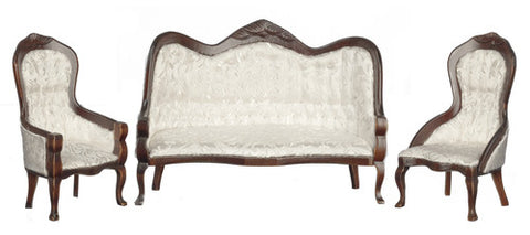 Victorian Sofa and Chair Set, White Brocade and Walnut