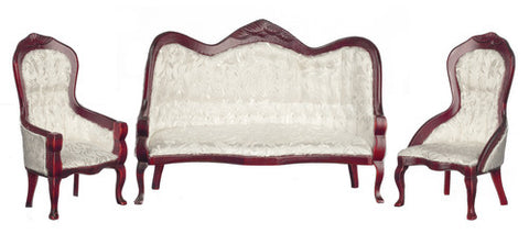 Victorian Sofa and Chair Set, White Brocade and Mahogany