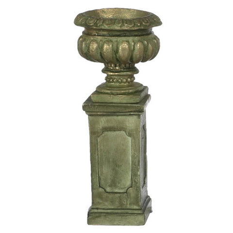 Pair of Tall Urns, Aged Green Finish