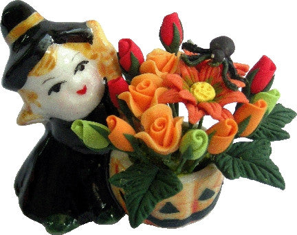 Halloween Floral Arrangement with Witch