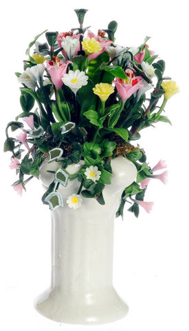 White Pedestal with Pink, Yellow and White Flowers