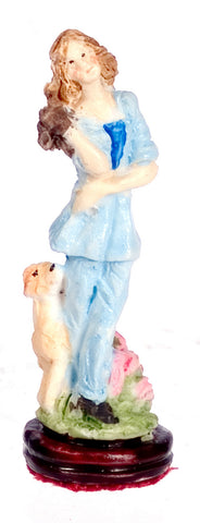 Girl with Dog Figurine