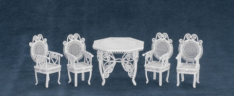 Ornate Metal Wicker Table and Four Chairs