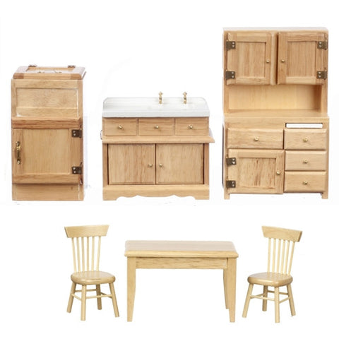 Old Fashioned Kitchen Set, Oak, Six Piece