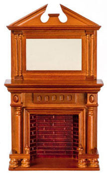 Walnut Fireplace with Federal Style Mirror
