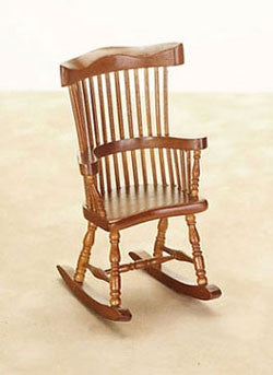 Rocking Chair, Windsor Style, Walnut Finish