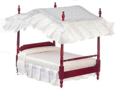 Canopy Bed, Mahogany Double OUT OF STOCK