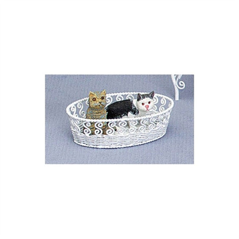 Pet Basket, White, Oval, Metal Wicker