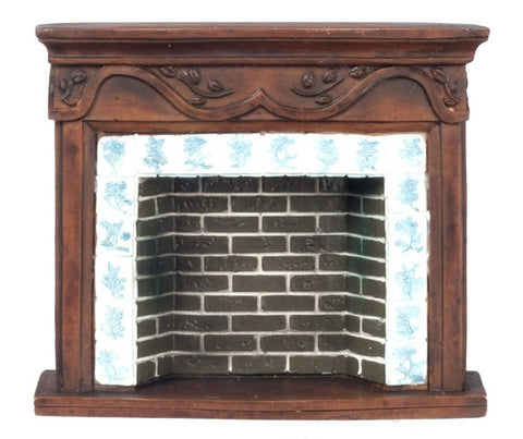 Fireplace, Brown Resin with Blue and White Delft Tile