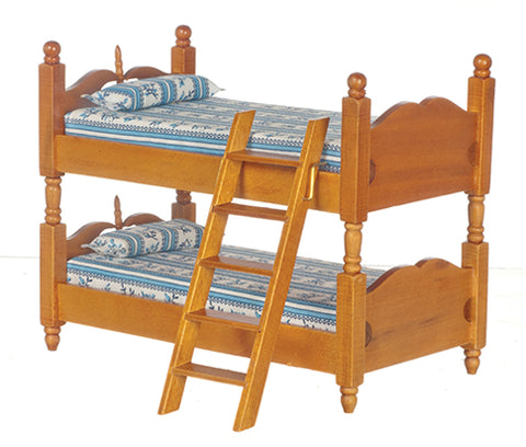 Bunk Bed, Walnut and Plaid