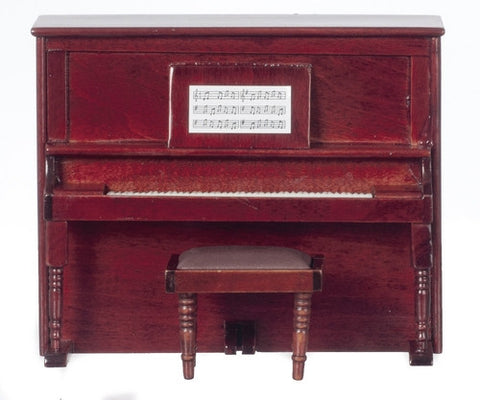 Upright Piano and Bench, Mahogany or Walnut