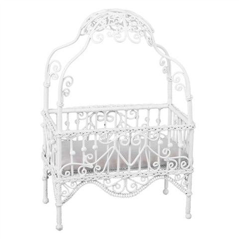White Metal Wicker Canopy Crib