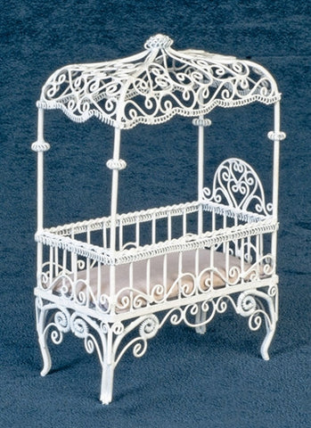 Canopy Crib, White Metal Wicker