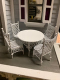 Gathering Table and Four Chairs, Metal Wicker