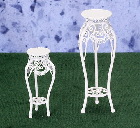 Pair of Metal Wicker Plant Stands